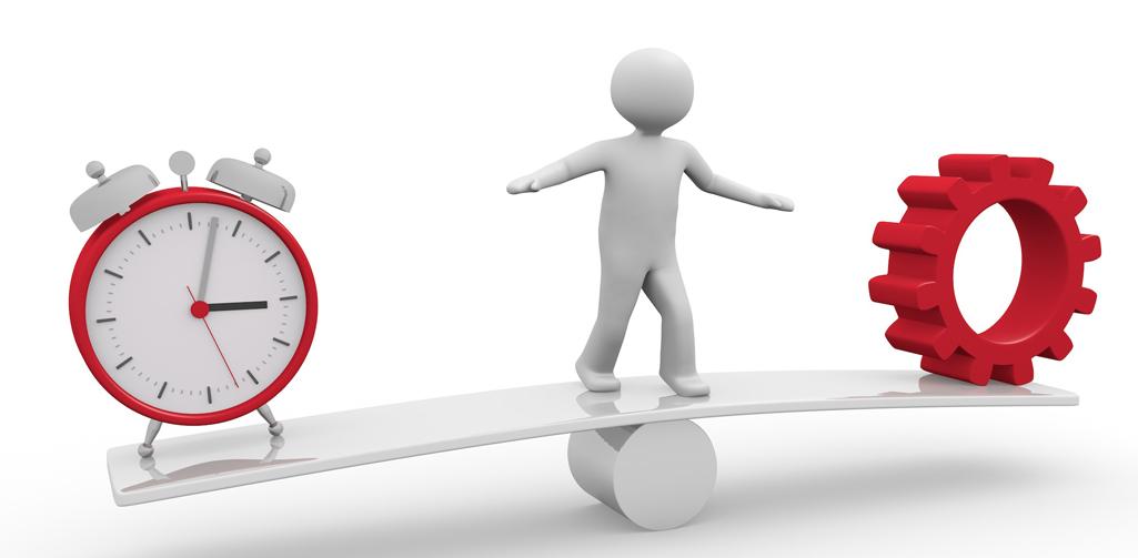 balance zwischen Zeit und Arbeit
